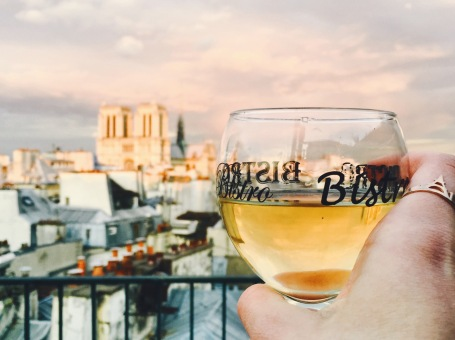 Rooftop wine with sunset views of Notre Dame