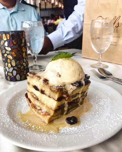 Amazing bread pudding at Hall's